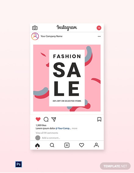 Free Modern Fashion Sale Instagram Post Template