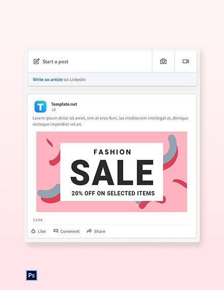 Free Modern Fashion Sale LinedIn Blog Post Template