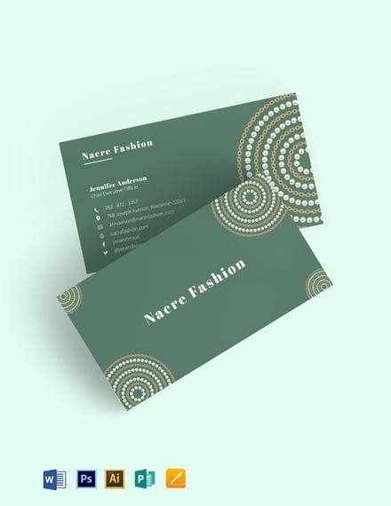 Nacre Fashion Business Card Template