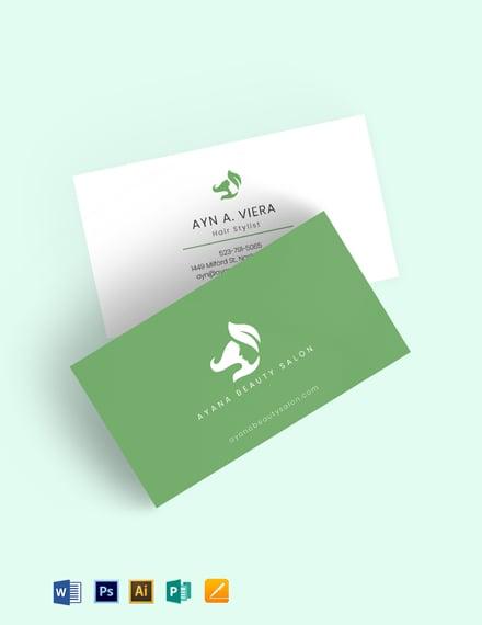 Natural Beauty Salon Business Card