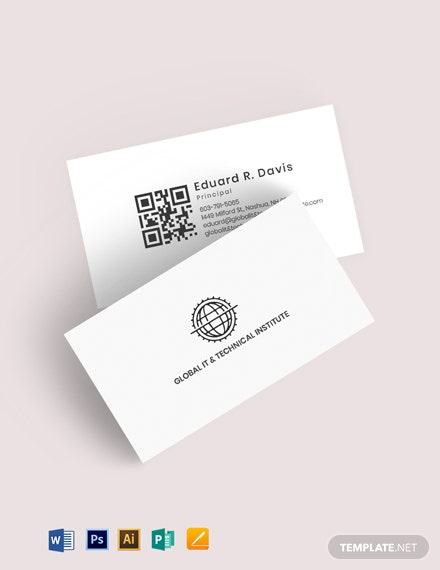 QR Code Global IT Business Card Template