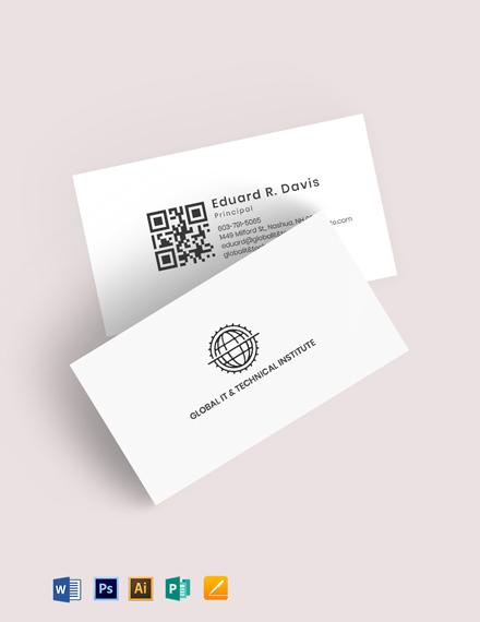 QR Code Global IT Business Card Template