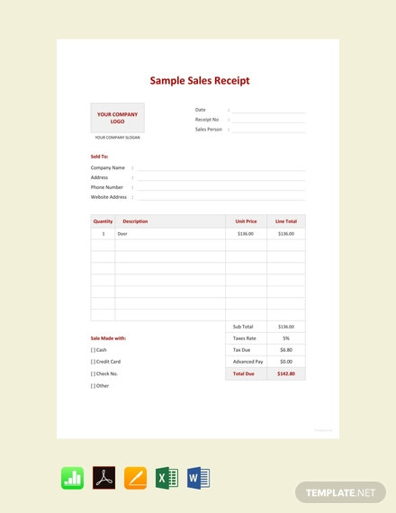 Free Sample Sales Receipt Template
