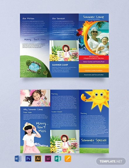 free summer camp trifold brochure template  download 935