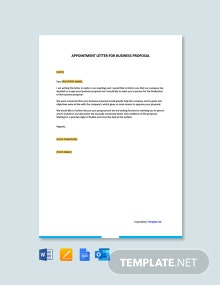 Free Appointment Letter For Business Proposal