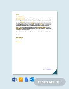 Free Cleaning Service Offer Letter