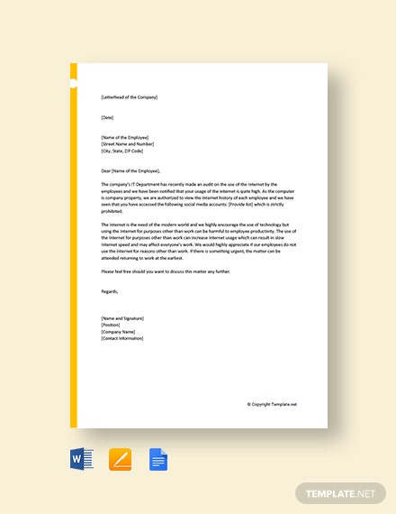 Free Company Warning Letter To Employee