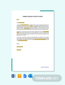Free Formal Apology Letter to client
