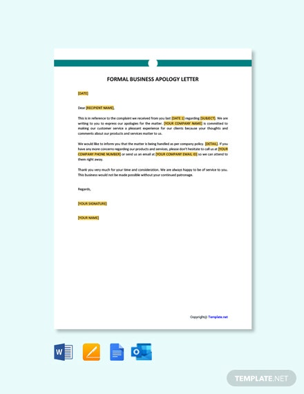 Free Formal Business Apology Letter