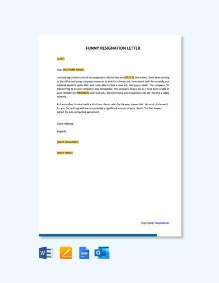 Free Funny Resignation Letter