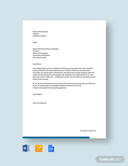Free Funny Resignation Letter