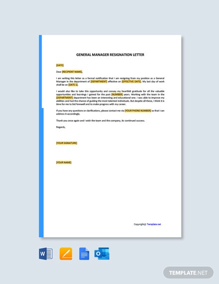 Free General Manager Resignation Letter