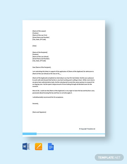 Free Law School Letter Of Recommendation From Lawyer