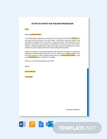 Free Letter Of Intent For Teacher Promotion