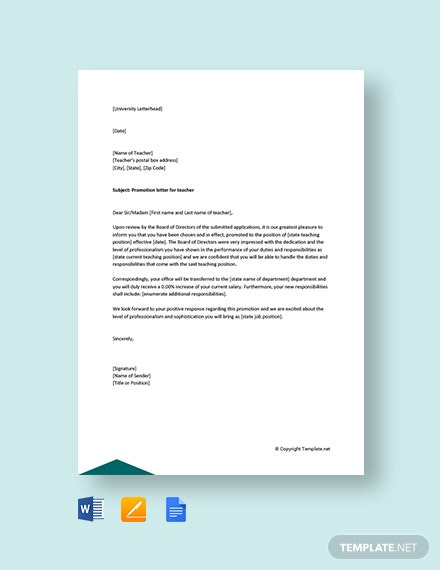 Free Promotion Letter for teacher by school