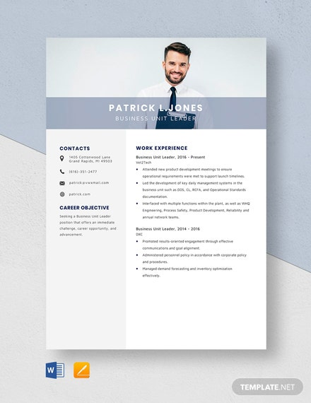 Business Unit Leader Resume Template