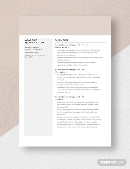 Business Service Manager Resume Template
