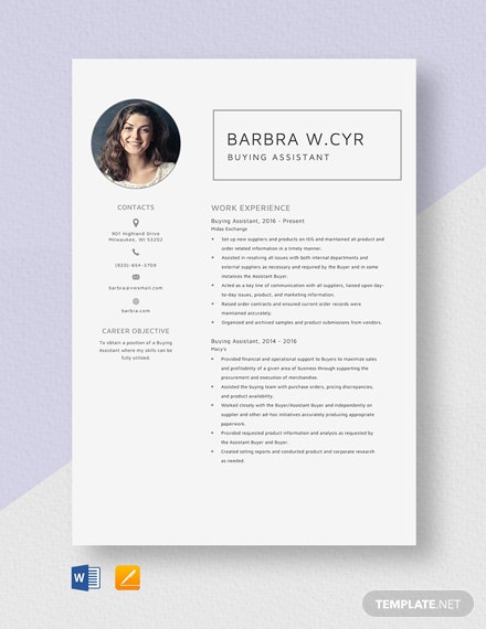 Buying Assistant Resume Template