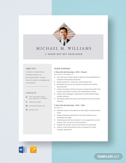 C Sharp Dot Net Developer Resume Template