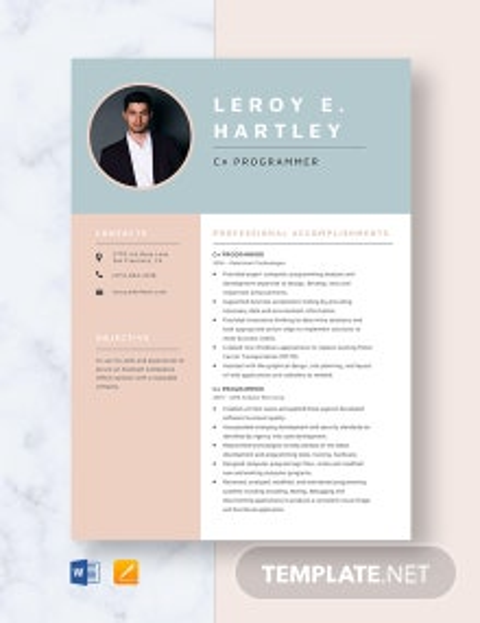 C# Programmer Resume Template