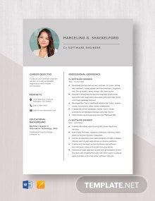 C# Software Engineer Resume Template