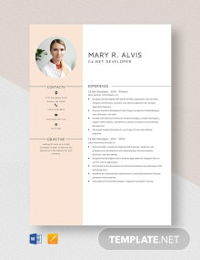 C#.Net Developer Resume Template