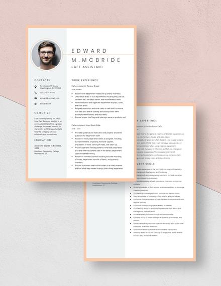 Cafe Assistant Resume Download