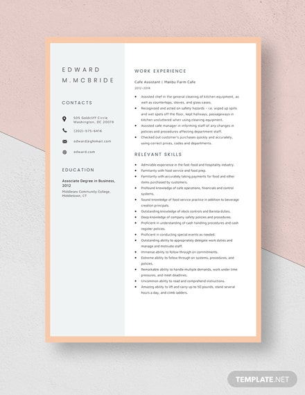 Cafe Assistant Resume Template