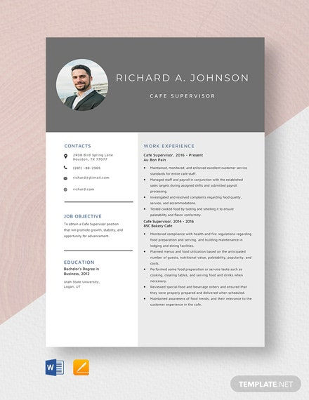 Cafe Supervisor Resume Template