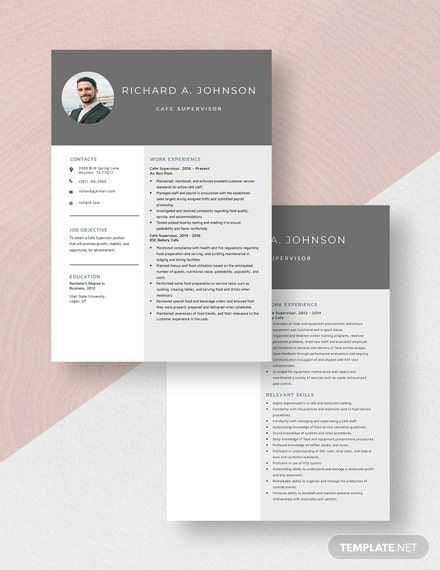 Cafe Supervisor Resume Download