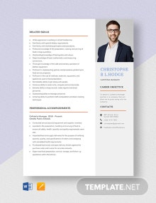 Cafeteria Manager Resume Template