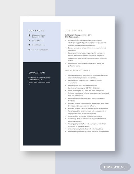 Calibration Manager Resume Template