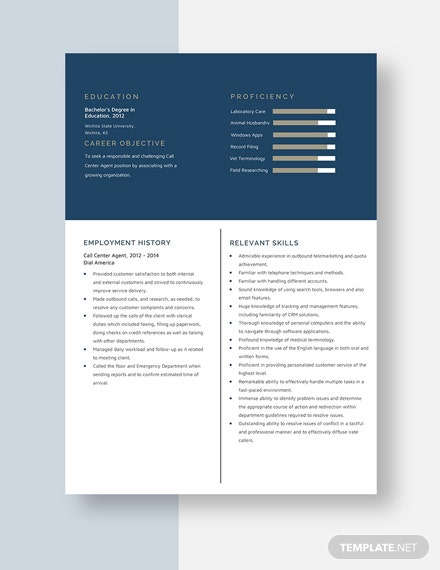 Call Center Agent Resume Template