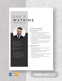 Casino Manager Resume Template