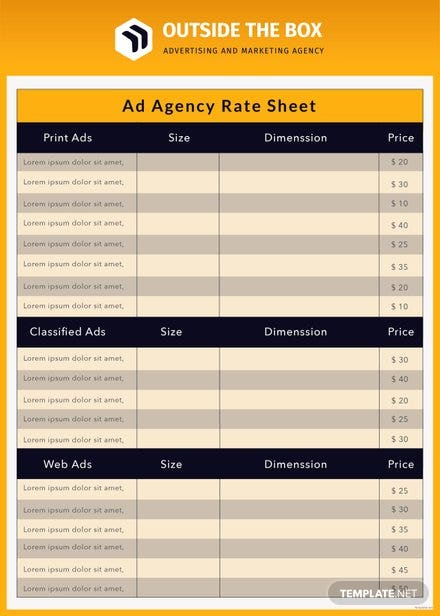 Free Ad Agency Rate Sheet Template
