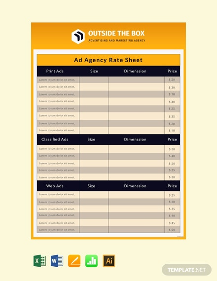 Ad Agency Rate Sheet Template