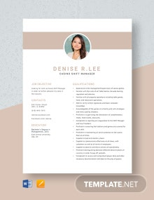 Casino Shift Manager Resume Template