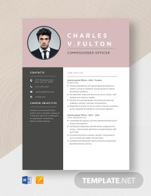 Commissioned Officer Resume Template