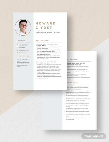 Commissioned Security Officer Resume Download