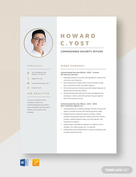 Commissioned Security Officer Resume Template