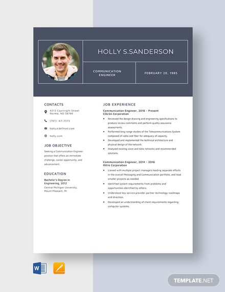 Communication Engineer Resume Template