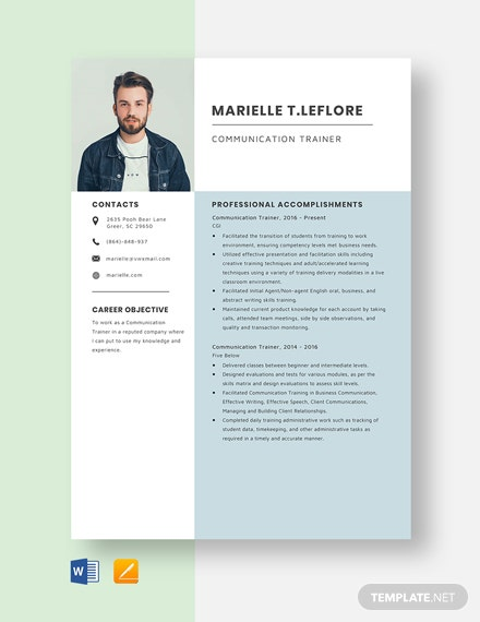 Communication Trainer Resume Template