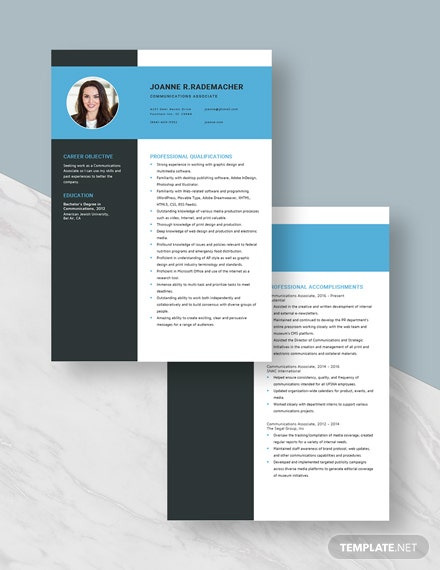 Communications Associate Resume Download