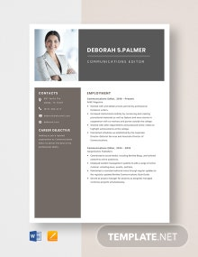 Communications Editor Resume Template