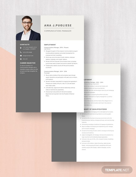 Communications Manager Resume Download