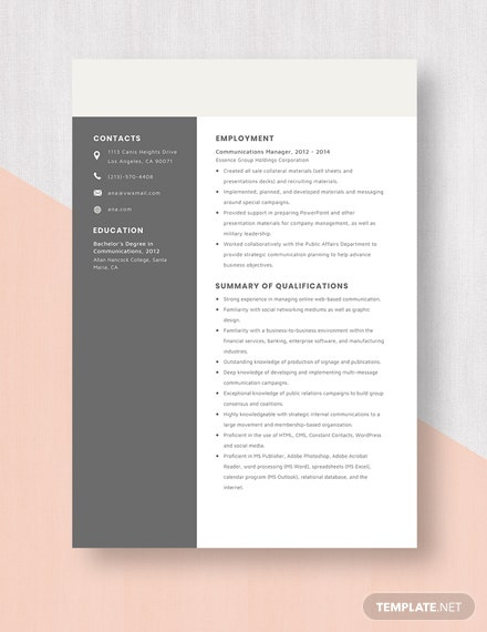 Communications Manager Resume Template