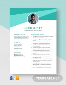 Communications Officer Resume Template