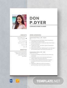 Communications Planner Resume Template