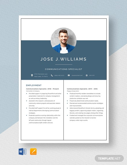 Communications Specialist Resume Template