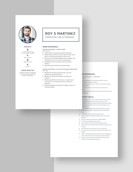 Computer Lab Attendant Resume Download